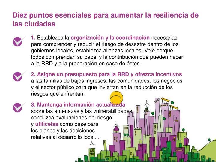 Diez puntos esenciales para aumentar la resiliencia de las ciudades