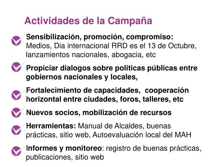 Actividades de la Campaña