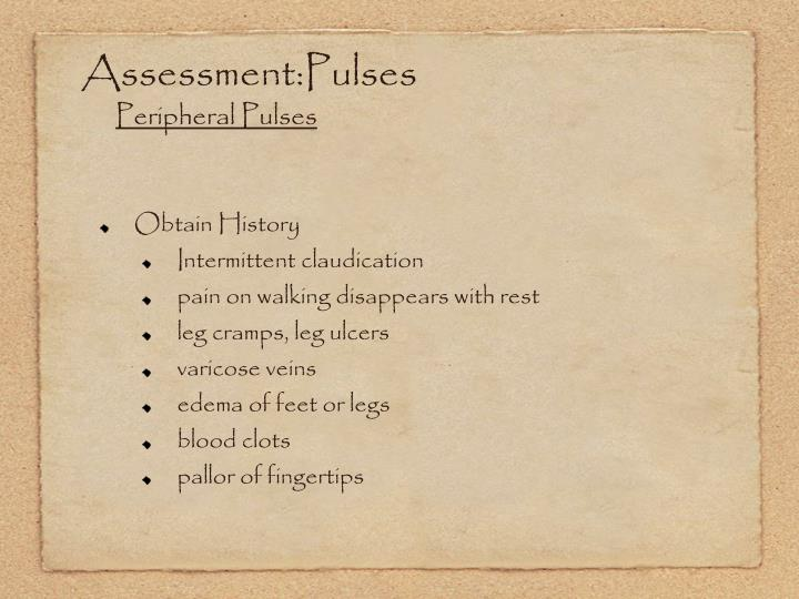 Assessment:Pulses