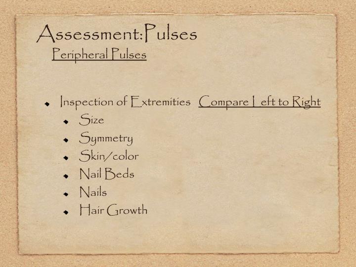 Assessment:Pulses