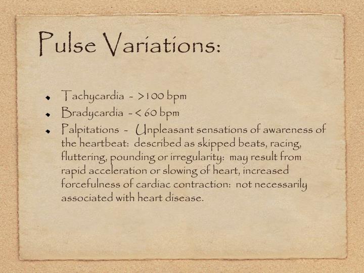 Pulse Variations: