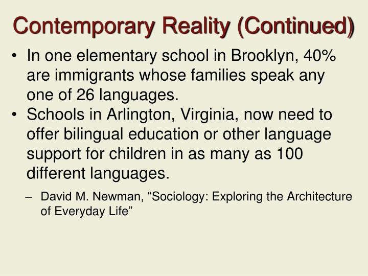 Contemporary Reality (Continued)