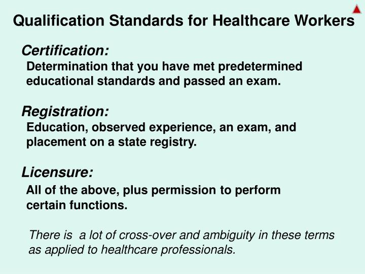 Qualification Standards for Healthcare Workers