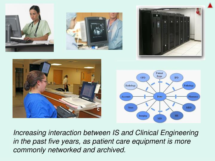 Increasing interaction between IS and Clinical Engineering in the past five years, as patient care equipment is more  commonly networked and archived.