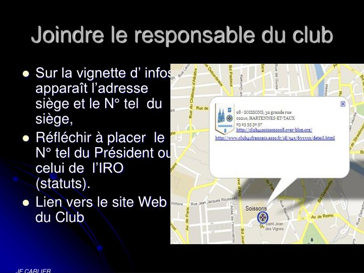 Joindre le responsable du club