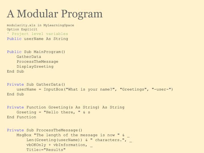 A Modular Program