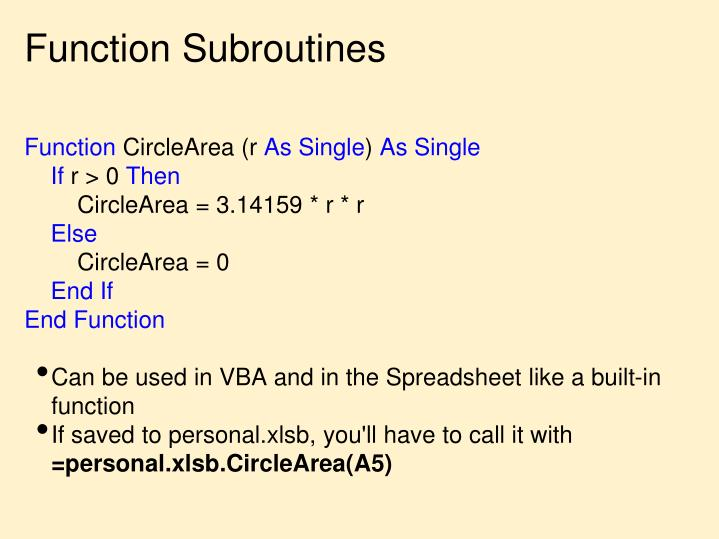 Function Subroutines