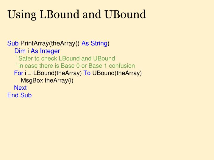 Using LBound and UBound