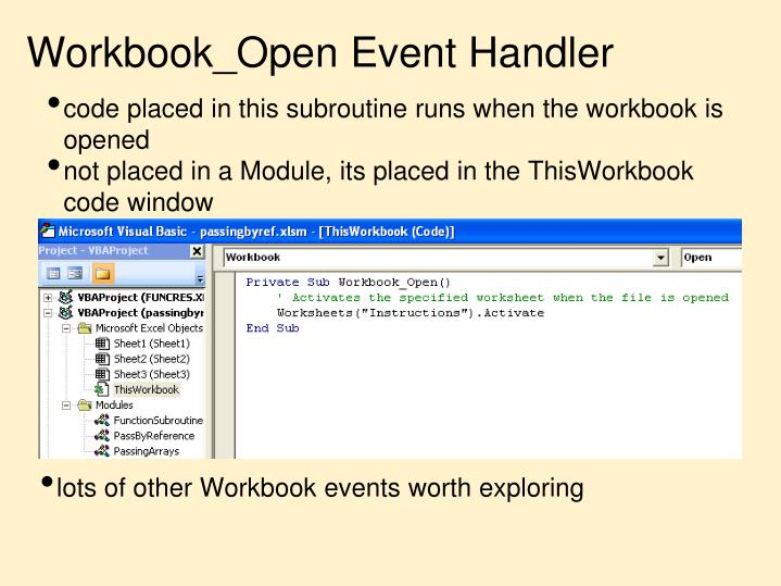 Workbook_Open Event Handler