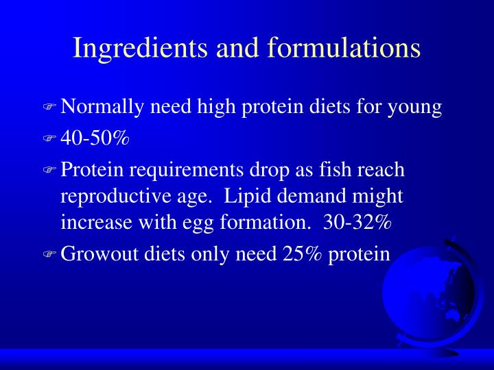 Ingredients and formulations