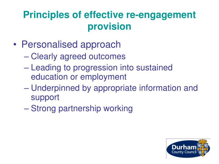 Principles of effective re-engagement provision