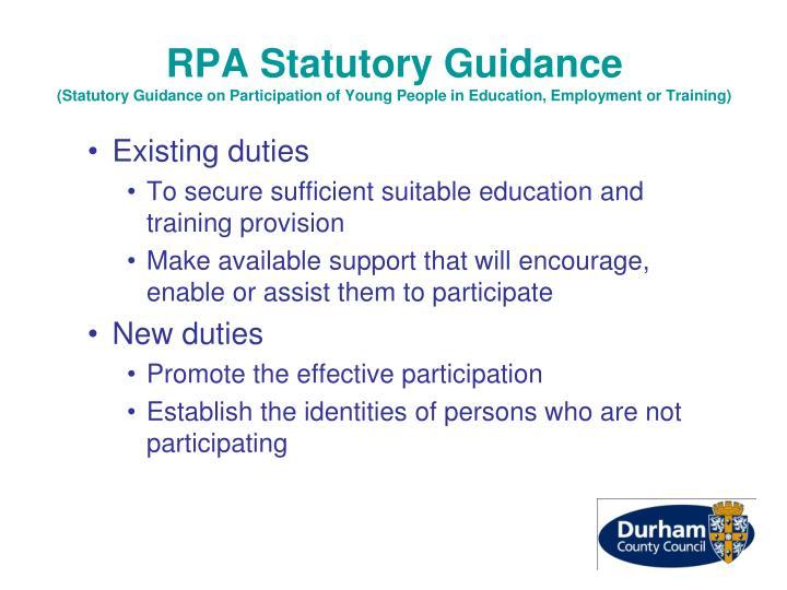 RPA Statutory Guidance