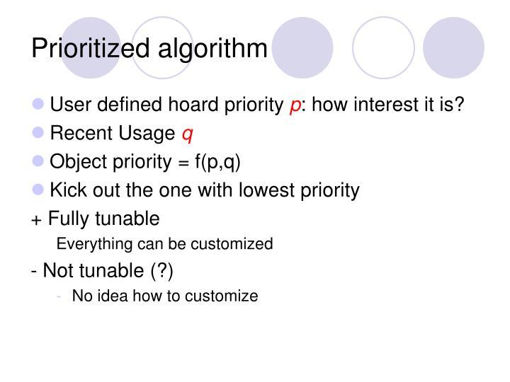 Prioritized algorithm
