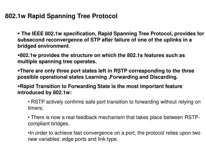 802.1w Rapid Spanning Tree Protocol