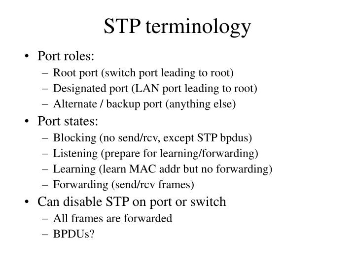 STP terminology