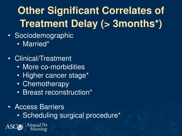 Other Significant Correlates of Treatment Delay (> 3months*)