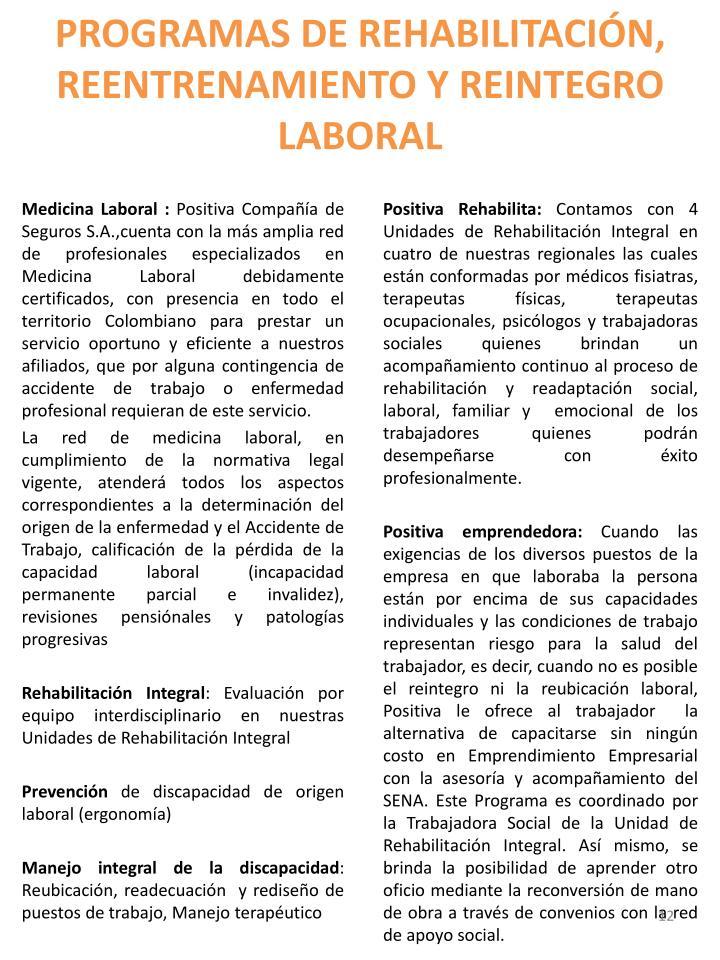 PROGRAMAS DE REHABILITACIÓN, REENTRENAMIENTO Y REINTEGRO LABORAL