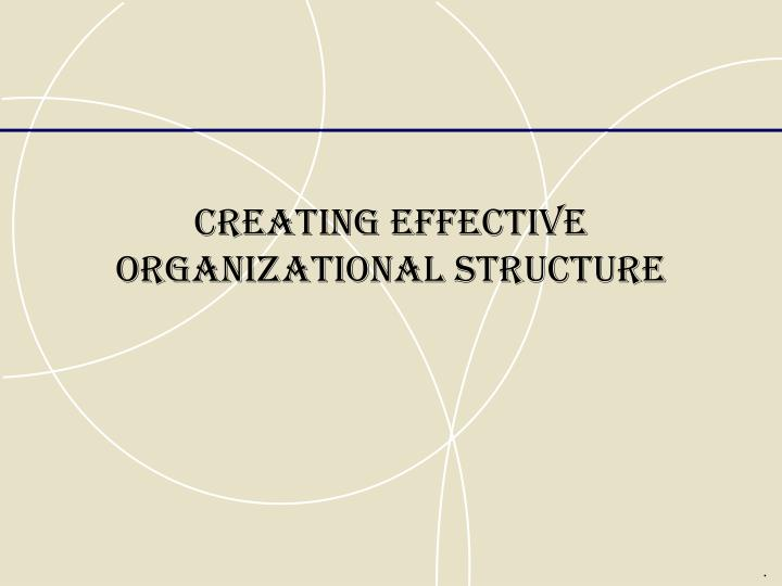 Creating effective organizational structure