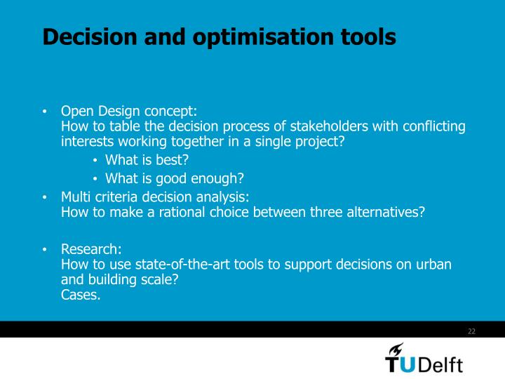 Decision and optimisation tools