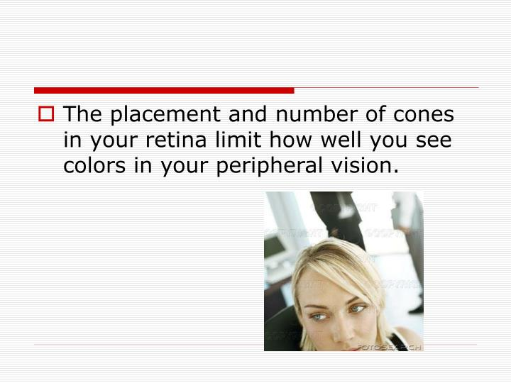 The placement and number of cones in your retina limit how well you see colors in your peripheral vision.