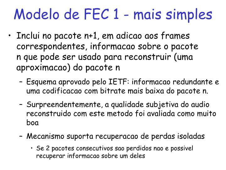 Modelo de FEC 1 - mais simples