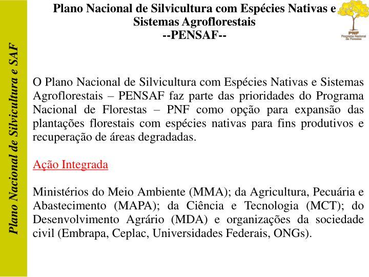 Plano Nacional de Silvicultura com Espécies Nativas e Sistemas Agroflorestais