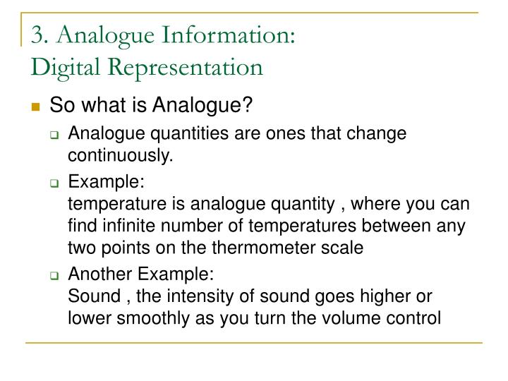 3. Analogue Information:
