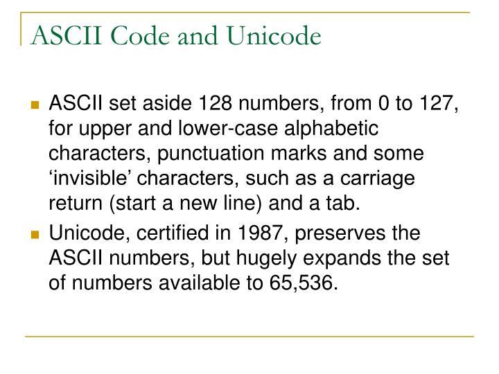 ASCII Code and Unicode