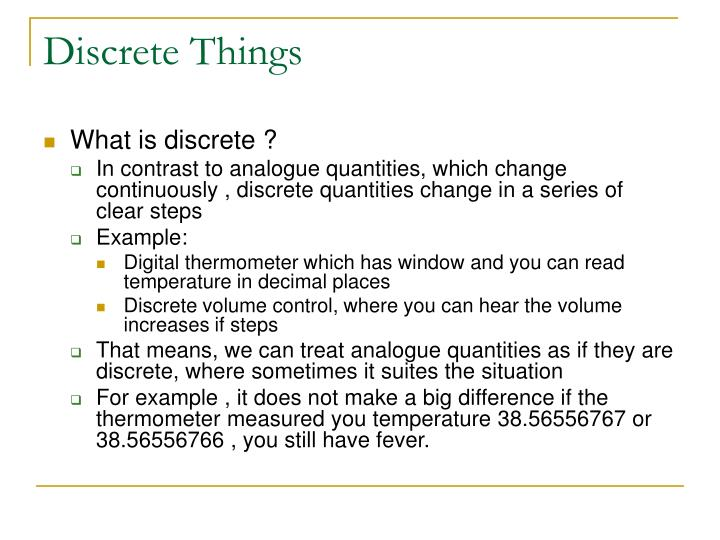 Discrete Things