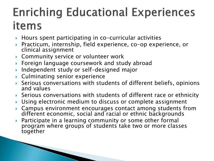 Enriching Educational Experiences items