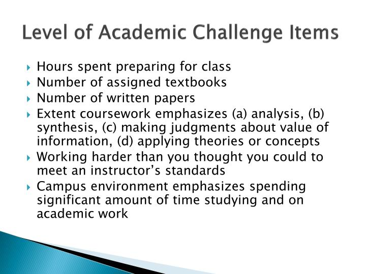 Level of Academic Challenge Items