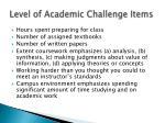 level of academic challenge items