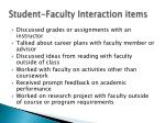student faculty interaction items