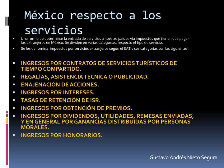 México respecto a los servicios