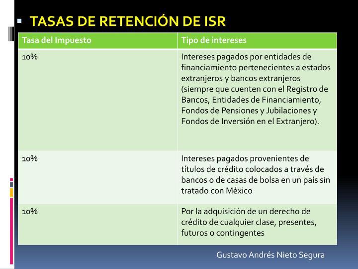 Tasas de retención de ISR