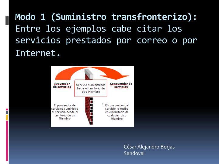 Modo 1 (Suministro transfronterizo):