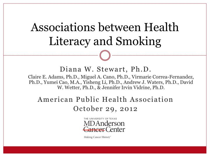 Associations between Health Literacy and Smoking