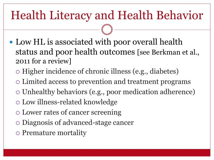 Health Literacy and Health Behavior