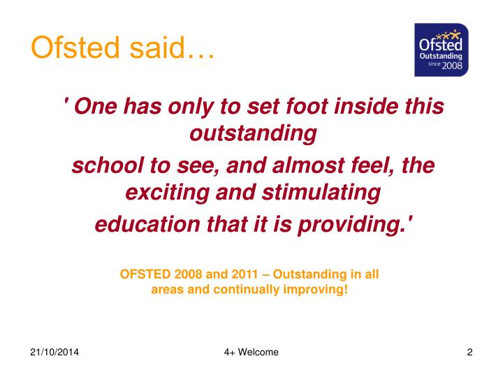 Ofsted said…