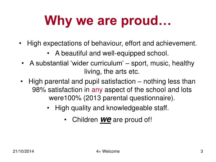 Why we are proud…