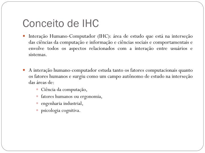 Conceito de IHC