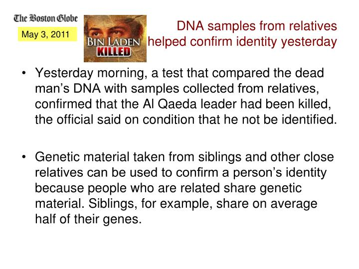 DNA samples from relatives