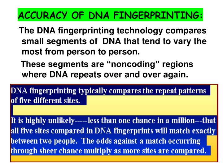 The DNA fingerprinting technology compares small segments of  DNA that tend to vary the most from person to person.