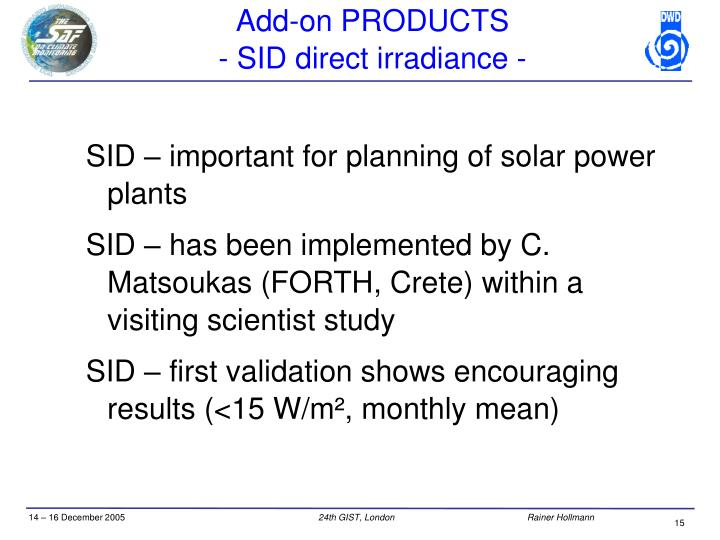 SID – important for planning of solar power plants