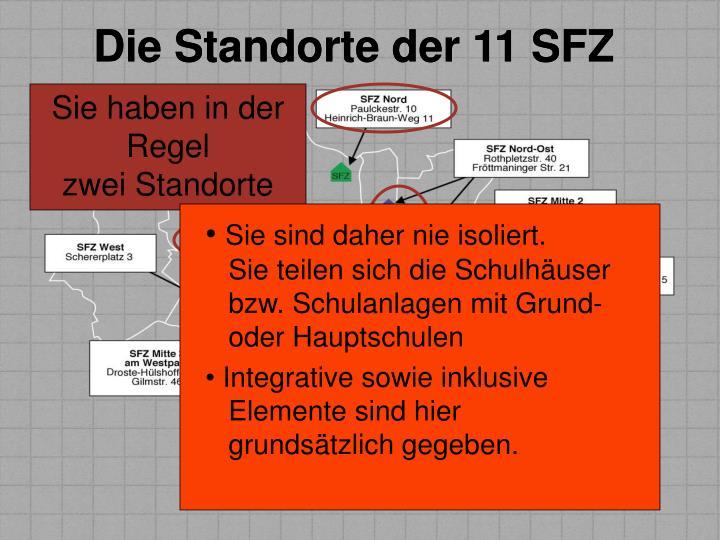 Die Standorte der 11 SFZ