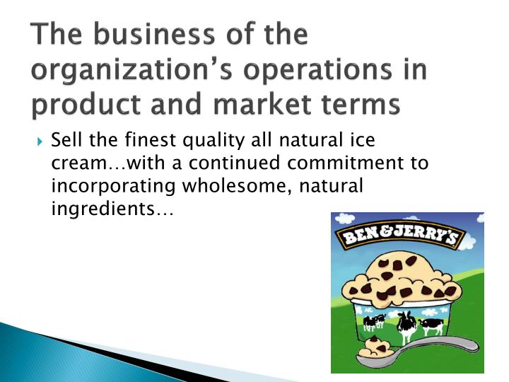 The business of the organization's operations in product and market terms