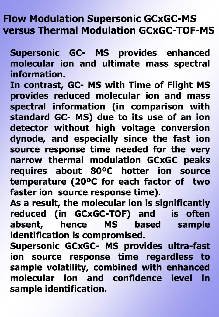 Flow Modulation Supersonic GCxGC-MS versus Thermal Modulation GCxGC-TOF-MS