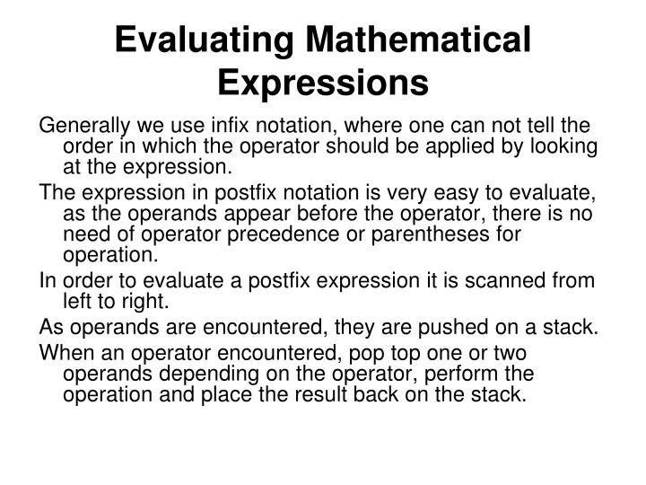 Evaluating Mathematical Expressions
