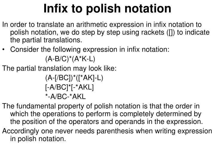 Infix to polish notation