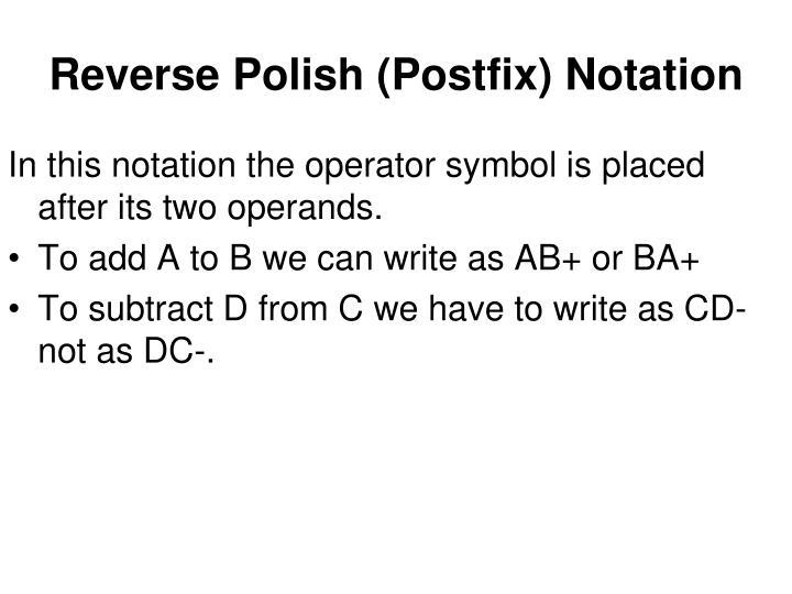 Reverse Polish (Postfix) Notation